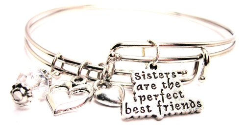 Sisters Are The Perfect Best Friends Adjustable Wire Bangle Bracelet