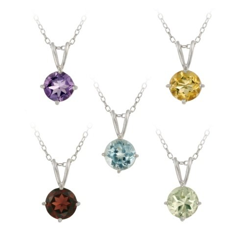 Sterling Silver 6.85ct TGW 7mm Round Amethyst, Blue Topaz, Citrine, Garnet & Green Amethyst Solitaire Pendants Set, 18