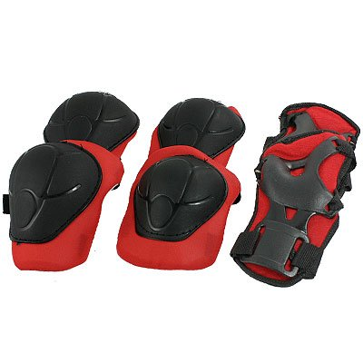 3 Set Skating Knee Elbow Wrist Support Red Black Pads for Child