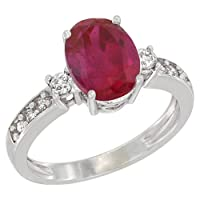 10K White Gold Natural High Quality Ruby Ring Oval 9x7 mm Diamond Accent, size 6.5