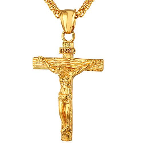 U7-Jewelry-Mens-Stainless-Steel-Jesus-Christ-Cross-Crucifix-Pendant-Necklace