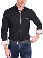 SIR RAYMOND TAILOR Men'S Linen Shirt Couch (NEGRO)