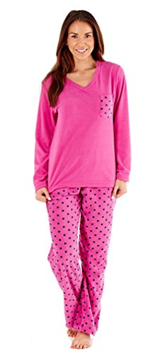 Ladies In Pile Con Scollo A V Pigiama Con Pantaloni A Pois. Flamingo o navy. Misure 10/12 - 18/20. Flamingo 44/46