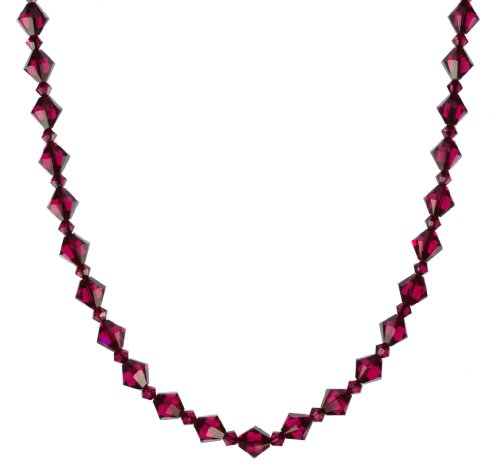 Sterling Silver Swarovski Elements 8mm and 4mm Ruby Colored Bicones Necklace, 20