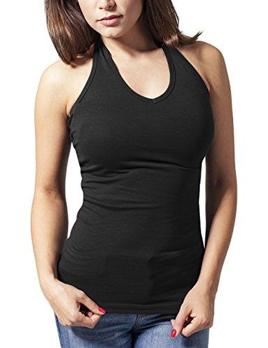Urban Classics Ladies Neckholder Shirt-Tank Top Donna    Nero (Black 7) 42