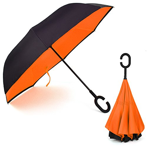Rainlax Inverted Umbrella Double Layer Windproof Anti UV Protection Umbrellas for Car Rain Outdoor with C-Shaped Handle (Black,Orange)