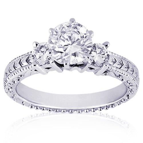 0.75 Ct Round 3 Stone Diamond Engagement Ring Vintage