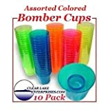 Hard Plastic Powerbomb glasses or Bomber Cups - Pack of 10 - ASSORTED COLORS