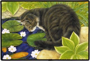 CAT AT FISH POND DOORMAT Art by by Anne Mortimer