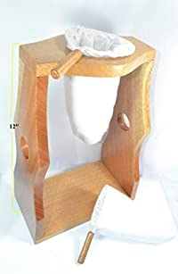 Ticoland Chorreador,Costa Rica Handmade Wooden Stand Coffee Maker,Included:1 Large+1 Medium Reusable Cloth Filters (Colador,Bolsa),Model:El Volcan,Color:Natural Wood