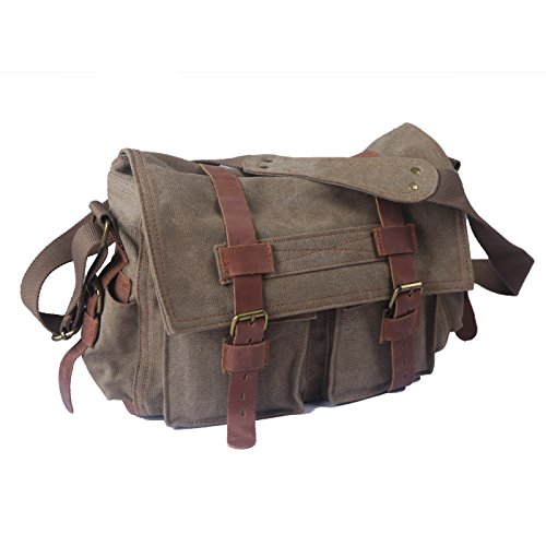 HDE Vintage Canvas Military Tactical Ammo Style Shoulder Messenger Field Bag (Tan)