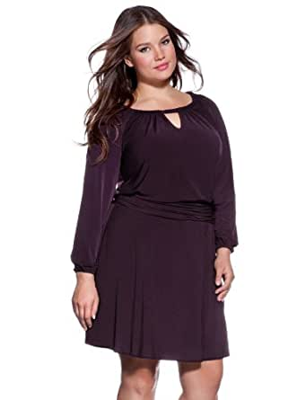 eloquii Long Sleeve Keyhole Dress Women's Plus Size Purple 24W