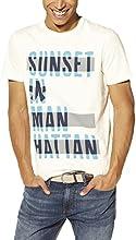 Celio - T-Shirt - Imprimé - Col rond - Manches courtes - Homme - Écru (Écru 02) - Large (Taille fabricant : L)