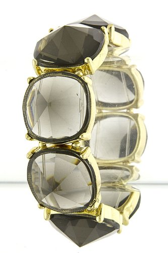 Trendy Fashion Jewelry Faceted Square Jewel Bracelet By Fashion Destination | (Black)