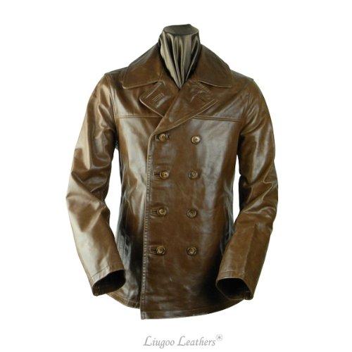 【高級馬革】レザーPコート《ブラウン》