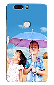 Omnam Two Little Child Playing In Rain Printed Designer Back Cover Case For Huawei Honor V8