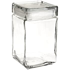 Anchor Hocking 85588R 1.5 Quart Stackable Square Clear Glass Storage Jar (Case of 4) by Anchor+Hocking