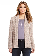 Indigo Collection Cable Knit Cardigan with Mohair