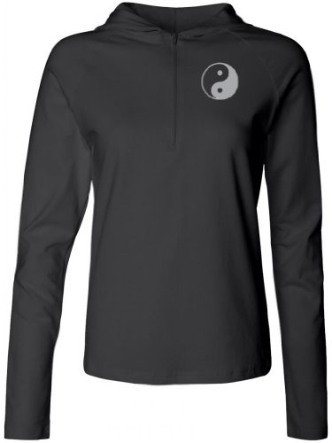 Yoga Clothing For You Ladies Half-Zip Yin Yang (Small Print) Hoodie, 2Xl Black