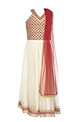 Twisha Girls' Net Lehenga Choli (GC-XP-AW09_Gold-Red_5-6 Years)