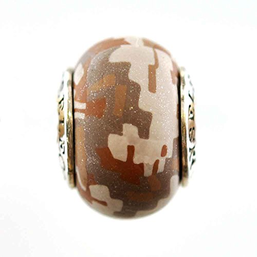 Desert Marine Digital Camo Camouflage Awareness Ribbon Bead Charm for Add-A-Bead Bracelets Clay & Sterling Silver by MAYselect SIZE Large