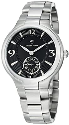 Philip Stein Signature Round Stainless Steel Black Dial Watch 43-MB-SS