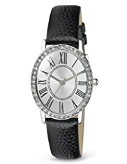 M&S Collection Oval Diamanté Face Strap Watch