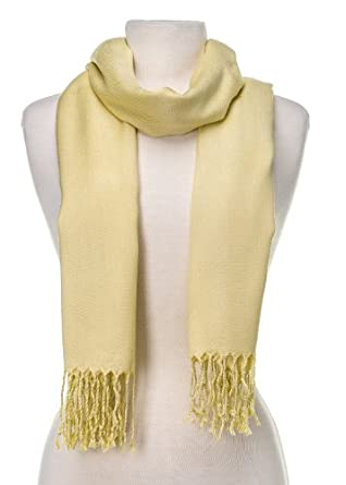 Noble Mount Solid Plain Pashmina with a Complimentary Gift - Yellow