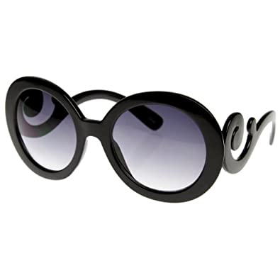 zeroUV® - Designer Oversized High Fashion Sunglasses w/ Baroque Swirl Arms