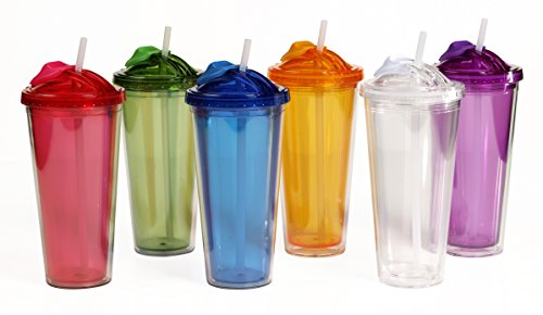 16oz Double Wall Tumbler With Pop-Up Straw - Assorted Colors