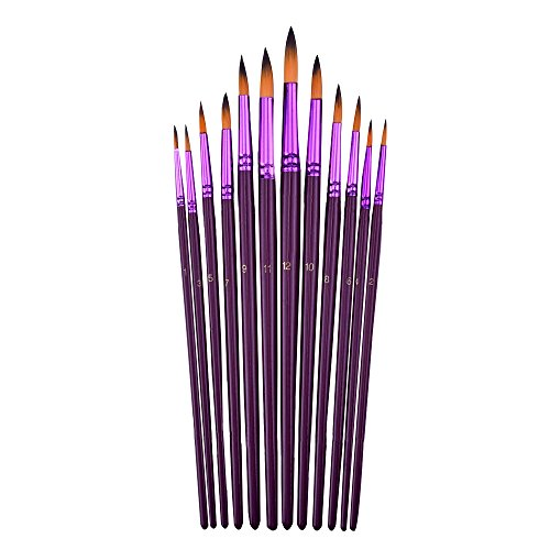mudder-12-pieces-artist-paint-brushes-fine-paint-brush-for-acrylic-watercolor-oil-painting-purple