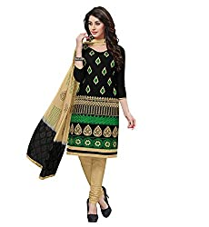 RK Fashion Black Color Fine Cotton Unstitched Embroidered Dress Material (MAH102-Black-Free Size)