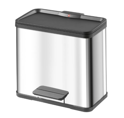 Hailo 0630-019 Trento Duo Eco Rubbish Separator Pedal Bin Stainless Steel 30