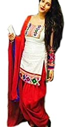 Be With Me Women's Cotton Embroidered White red Patiala Suit- Dress Material