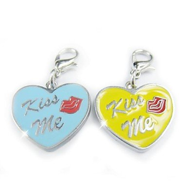 Zcl Kiss Me Heart Shape Tag Accessory For Collars For Pets Dogs(Assorted Colors) , Blue