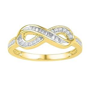 10K Yellow Gold 0.20 TCW Diamond Ring Size 7 Includes Free Jewelry Gift Box