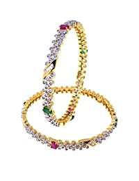 Aabhushan Jewels Ruby & Emerald Look Gold Plated American Diamond Bangles For Women - B00WUE85II