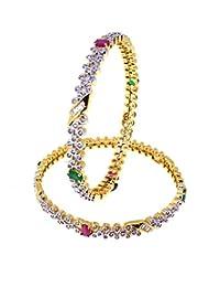 Aabhushan Jewels Ruby & Emerald Look Gold Plated American Diamond Bangles For Women - B00WUE85II