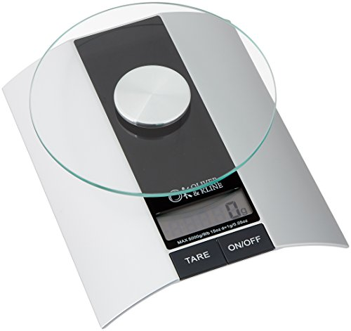 Best Kitchen Food Scale - 9lb 15oz Weight Limit (5kg) - Multifunction Electronic Digital Scale for Baking & Cooking - Silver & Black - Perfectly Measure Liquid & Dry Ingredients - From Oliver & Kline (Cheap Baking Scale compare prices)