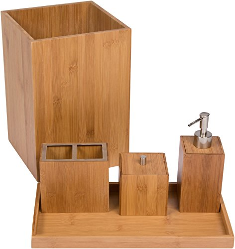 Trademark innovations 5 piece bamboo bathroom vanity set for Bathroom vanity accessory sets