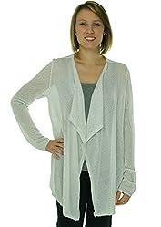 Calvin Klein Women's Metallic Knit Flyaway Cardigan, White, L