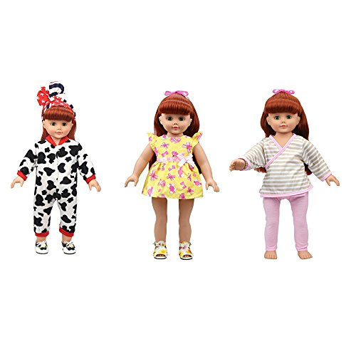 Banne Park Rids 3 Sets Simulation Cotton Pyjamas New Bitty Princess Party Baby Doll's Clothes For 18 Inch American (Princess Peach Baby Costume)