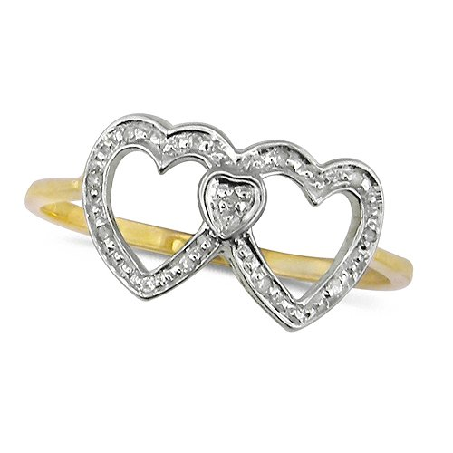 9ct Yellow Gold Ladies Double Heart Diamond Dress Ring Set with 4pts of Diamo...