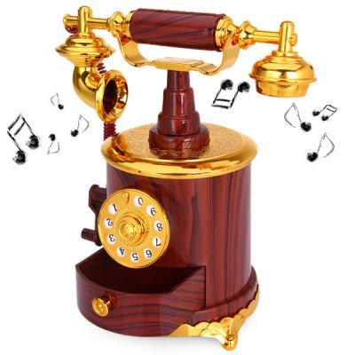 Best Brand My6059 Retro Hand-Operated Telephone Music Box With Small Drawer