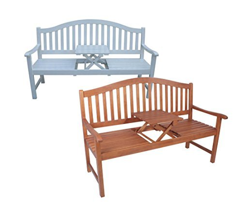 Dekorative Gartenbank mit ausklappbarem Tisch in zwei Farbvarianten (Weiß)