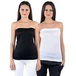 Numbrave Women's Viscose Top (EANTUBETOP-BLACK_WHITE_Black, White_Free Size)