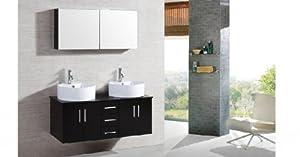 SOLDES - Le Maia : Ensemble meuble de salle de bain, 2 vasques, 1 miroir
