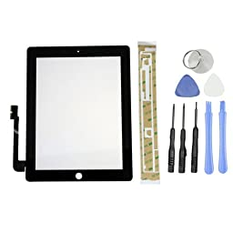 GoodsCity Black Touch Screen Glass Digitizer Replacement+ Adhesive Glue Tape for iPad 3 iPad 3rd Gen Generation , Tools