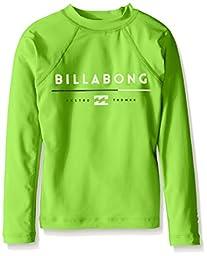 Billabong Big Boys\' All Day Long Sleeve Regular Fit Rashguard, Neon Green, 14