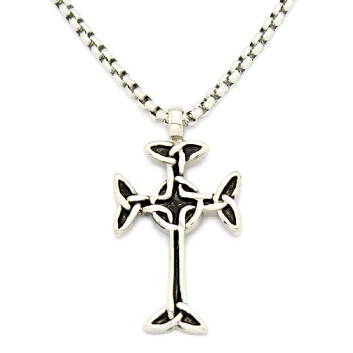 2 PIECE SET: Vintage 19-Inch Stainless Steel Rolo Chain Necklace With Black Enamel Cross Pendant (LIFETIME WARRANTY)
